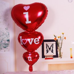 Wholesale Heart Shape Balloon Decoration - Heart Shaped I Love You Red Foil Balloons Party Decoration Engagement Anniversary Weddings Valentine Balloons YYA1217