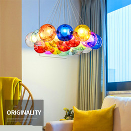 Wholesale Glass Pendant Lamp Red - Colorful Glass Ball Lamp G4 LED Pendant Lights 110V 220V Creative Design Lighting Fixtures for Home Deco Bar Coffee Living Room