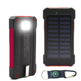 Wholesale Solar Charging Led Flashlight - waterproof solar power bank 30000mah universal battery charger with Compass LED flashlight and Camping lamp for outdoor charging
