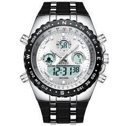 тактические часы Скидка BINZI Big Dial Sports Watches for Men Analog Digital Display Waterproof  Tactical Wrist Watches with Black Silicone Band