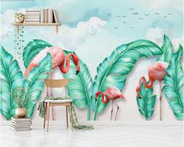 tv рисунок Скидка Nordic рисованной тропические листья фламинго 3d обои, гостиная диван ТВ стены детская спальня бар обои papel де parede