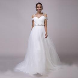 Argentina Cristales Listones Vestidos de novia Hombro Tulle Una línea Tren de barrido Nuevo Diseño magnífico Vestidos de novia a medida Suministro