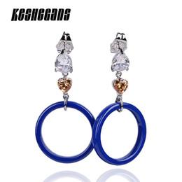 Blaue kreisentwürfe online-Elegante Blaue Kreis Ohrringe Für Frauen Modeschmuck 2018 Neue Design Einfache Geometrische Beliebte Temperament Ohrringe Geschenke