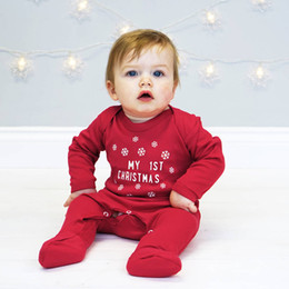 roupa de floco de neve baby Desconto Bebê Natal Footies Fivela Macacão De Floco De Neve Recém-nascidos Meninos Meninas Roupas De Grife Meu Primeiro Natal Manga Comprida Vermelho Impresso Inverno Romper