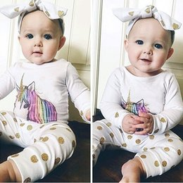 Wholesale Baby Girls Tshirts - Cute Baby Unicorn Clothing Sets with Headband Dot Printed Baby Girl Tshirts+Pants for Newborn Clothes Sets