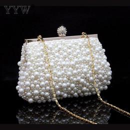 Роскошные сумочки онлайн-Dressed Clutch Bags for Women 2018 White Frame Bag with Plastic Pearls  Handbags Women Bags Designer Party Shoulder Bag
