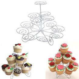 Wholesale Display Tier Wholesale - 3 Tier Cakes Holder Cupcake Stand Metal Holder Tower Wedding Birthday Party Dessert Display