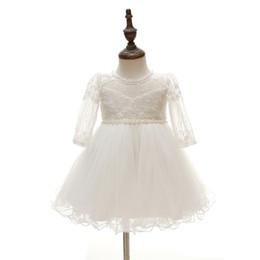 2019 robes de baptême en soie Nouveau-né Haute Qualité dentelle bébé Baptême Robe Robes De Baptême filles 'party Infant Princesse robe de mariée manches longues