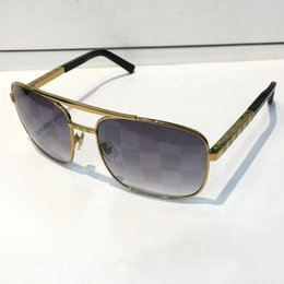 Wholesale Block Design - Luxury Attitude Sunglasses For Men Fashion Blocked Lens design UV Protection Lens Square Full Frame Gold Color Plated Frame With Package