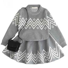 Wholesale Girls Sweater Skirt Sets - 2018 New Style Geometric Printed Baby Girls Sweater Tutu Skirt Set Hot Sales Fall Winter Knitted Long Sleeve Kids Clothing Set