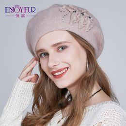 fbdadce8e19dc angora hats 2019 - ENJOYFUR Women Winter Beret Hat Female angora wool  knitted berets Patchwork Flower