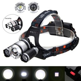 Wholesale Focus Light Bulbs - Zoomable Headlight 3X XM-L T6 LED Light Adjustable Focus Torch 20000LM Outdoor Sports Camping Fishing Head Lamp