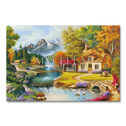 Paesaggio domestico di campagna online-all'ingrosso Quadri di diamanti Kit a punto croce Ricamo Paese Paesaggi Modelli Mosaic House Immagini Strass Decorazione della casa