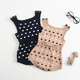 polka dot baby bodysuit Promo Codes - Baby Girls Rompers INS New Autumn Infant Polka Dots Knitting Jacquard Vest Jumpsuit Kids Girls Sweater Bodysuit Babies Oneise