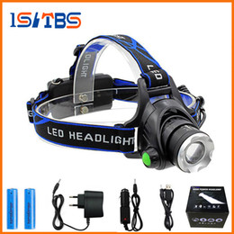 Wholesale Cree T6 Led Headlight - Rechargeable CREE XML T6 5000Lumens Zoom Head Lamp torch LED Headlamp + 18650 Battery Headlight Flashlight Lantern night fishing