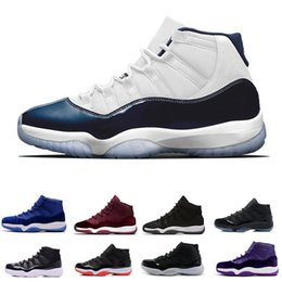 Wholesale night baseball - 2018 New arrival 11 Prom Night Basketball Shoes WIN LIKE 82 96 Midnight Navy UNC Gym Red 11s Concord Bred trainers sport sneakers