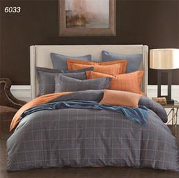 Wholesale Pure Linen Bedding - Plaids bedding sets blue grey orange duvet cover sheet pillowcases pure cotton bed linens brief hometextiles new fashion B6033