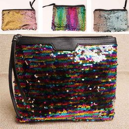 Wholesale Coin Storage Box Metal - Luxury Sequins Storage Bag For Women Makeup Cosmetic Mermaid Clutch Handbag Home Coins Organization Storage WX9-362