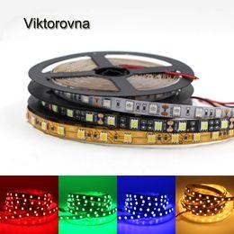 wasserdichte led-schwarze streifen Rabatt DC12V LED-Lichtstreifen SMD 5050 60led / M LED-Beleuchtung flexibles Band Gold / Weiß / Schwarz PCB Nicht wasserdichtes Diodenbandlicht