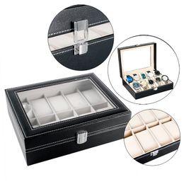 очиститель экрана Скидка Elegant Gift Box Foam Pad Organizer Classical Black Leather Watches Box Pillow Display Case Holder Package Case Keep Clean