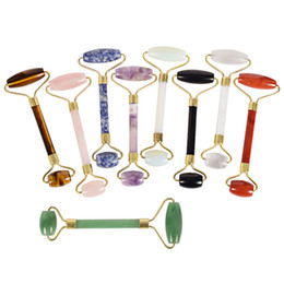 Wholesale Body Massage Tools - Wholesale natural stone Facial Massage Roller Practical Jade Face Anti Wrinkle Body Head Portable Beauty Health Care Tools