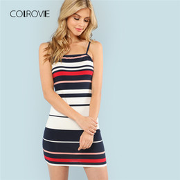 00ec748e70 COLROVIE Color Block Striped Cami Summer Dress 2018 New Spaghetti Strap  Girls Bodycon Mini Dress Multicolor Casual Women color block striped dress  on sale