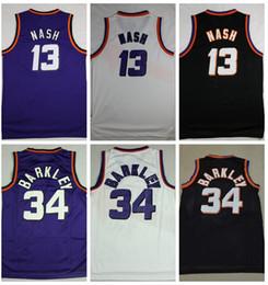 Venta al por mayor online-Hombres # 34 Charles Barkley Jersey # 13 Steve Nash Jersey cosido Barkley Nash Baloncesto Jerseys Barato al por mayor Envío de la gota