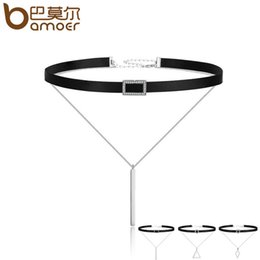 sterling silver choker collar Coupons - BAMOER Trendy Double Layer 925 Sterling Silver & Black Braid Bar Square Chokers Pendant Necklaces Femme Collar Jewelry SCN080