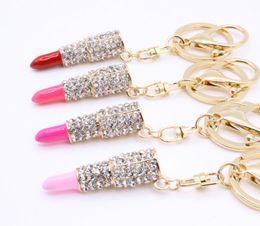 Wholesale Lipstick Charm Pendant - Charm Crystal Keychain Lipstick Key Holder Rhinestone Keyring Keyfob Red Rose Pendant Key Chain Rings Women Jewelry 4 colors