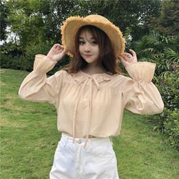 277462ca1a 2019 camisas con cuello chicas lindas Lolita estilo 2018 otoño nuevas  mujeres estudiantes coreanos lindo peter