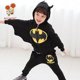 Wholesale Batman Tops - 2018 Spring Batman Costume 2PCS Baby Boys Set Chivalrous Suit Hooded Zipper Top Wing Sleeve And Long Pants Children Garment Korean Boutique
