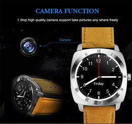 Wholesale Android X3 - Original X3 Bluetooth Pedometer Sleep Smart Watch Leather Android Smartwatch Monitor Remote Camera Music SIM TF Card Smart Clock
