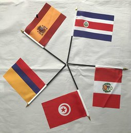Wholesale Cheer Tops - 2018 Russia Top 32 World Cup Hand Signal Flag National Flags Football Soccer Fan Cheering Flag Manual Hand Waving Flags in Stock