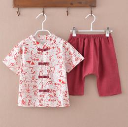 Conjuntos de ropa de niñas chinas online-Estilo chino Baby Clothing Sets 3 colores de manga corta Tops + Pantalones de dos piezas Boy Girl Clothing Sets