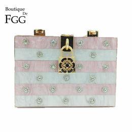 8b6993704bb8 Boutique De FGG Pink   White Strped Crystal Women Fashion Day Clutches  Handbag Metal Hardcase Box Tote Clutch Evening Party Bag
