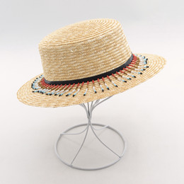 36387868fd1 Muchique Women s Boater Sun Hat With Sequins Nat Flat Brim Wheat Straw  Summer Hat with Colorful Pom Poms