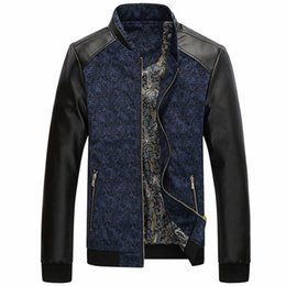 Wholesale warm leather mens coats - Spring Men Motorcycle Jacket Mens Fashion Leather Zipper Jacket Patchwork Stand Collar Autumn Warm Coat Outerwear M-3XL