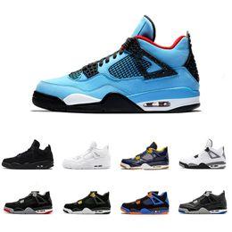Wholesale green 4s - Travis Houston blue 4 Raptors 4s Men Basketball Shoes Pure Money Black Cat white cement Bred Fire red Fear Alternate sports sneakers 41-47