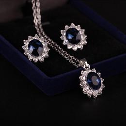 collar esmeralda de la boda fija Rebajas Conjuntos de collar de plata de color azul cristal piedra boda joyería para novias conjunto para las mujeres joyería africana aniversario regalo
