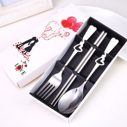 Wholesale holiday party names - 100Set Customized Wedding Party Favor And Gift,Personalized Cutlery set,Heart Spoon Fork Chopsticks Set,Engrave Bride Groom Name & Date