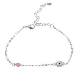 Rosa augenfilm online-2018 für Mädchen Dame niedlichen Fisch Kette Charm Armband fit für europäische Frauen rosa Emaille Evil Eye Armreif Armband versilbert