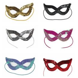 2019 disfraz de gato mujer Lentejuela máscara de Halloween máscara de disfraces Sexy Woman Eye Mask Fancy Dress Encantadora fiesta de gato Navidad XMAS Boutique máscara HH7-1339 disfraz de gato mujer baratos