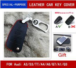 audi a3 keys NZ - Leather car key cover Car Remote Key Fob Shell Cover Case For Audi A1 A3 S3 A4 A6 RS6 TT Q3 Q7 2005-2013