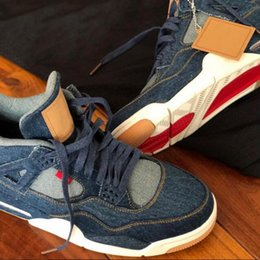 Wholesale Sail Shoes Men - With Box New LS x Air 4 4s IV NRG DENIM DENIM SAIL-GAME RED VOILE ROUGE JEU AO2571-401 Men Basketball Shoes Flight sneakers