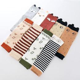 Wholesale legging stocking kids - 2018 new Cotton Baby fox Leg Warmer Leggings socks cartoon Stripe Dots infant Knee Pads Socks Kids Leg Stocking C3399