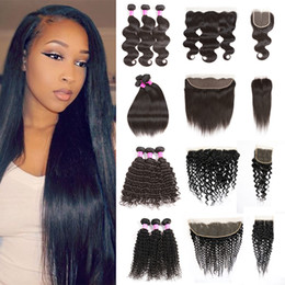 Wholesale mongolian kinky curly frontal - Brazilian Hair 3 Bundles with Closure Or Frontal with Bundles Straight Body Wave Deep Kinky Curly Hair Water Wave Human Hair with Closure