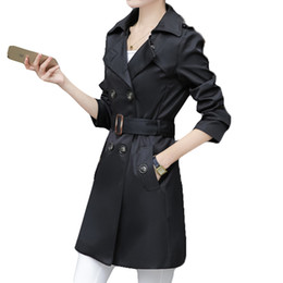 Модные женские пальто онлайн-Women Trench Coat For Office Lady Go To Work New Fashion Designer  Classic European Slim Coat Trench Double Breasted Plus