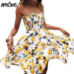 Wholesale Tube Dress Beach - Aproms Tiered Ruffle Off Shoulder Summer Dress Boho Floral Print Short Dress Women Sleeveless Tube Sundress Beach Casual Dresses