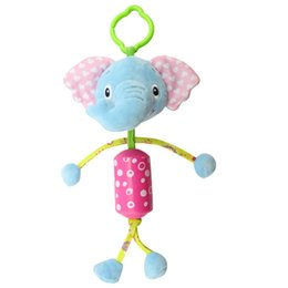 Wholesale Hung Monkeys - Wholesale- Lovely Baby Stroller Hanging Toys Plush Animal Lion Monkey Wind Chimes Campanula Baby Rattles Mobile Musical Classic Toys Gifts