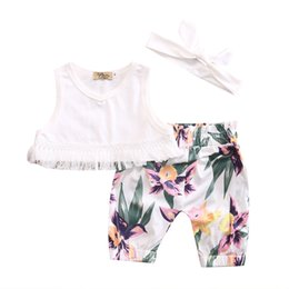 Wholesale New Summer Outfits - 2017 New Cute Newborn Baby Girl Clothes Sleeveless Tops Pants Headband Outfit 3PCS Sets 0-24M